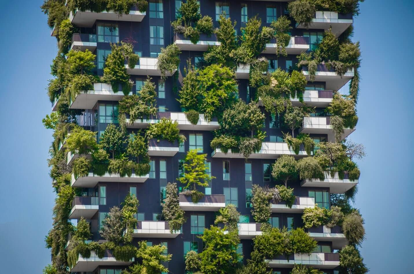 A high-rise building with a green facade