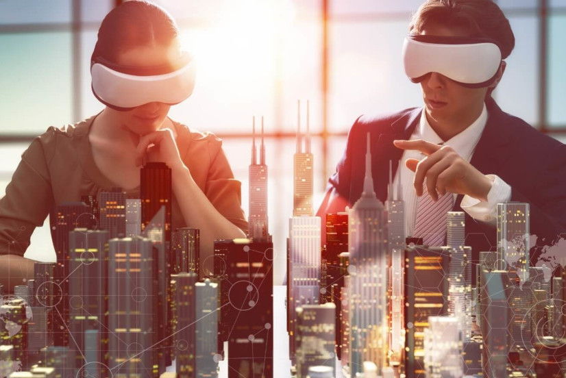 Two people viewing city via VR glasses