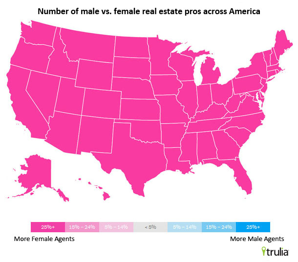 Pink map on number of male vs female real estate agents across america